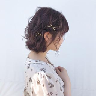 大人かわいい ヘアアレンジ ボブ ナチュラル ヘアスタイルや髪型の写真・画像