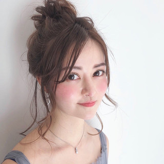 簡単ヘアアレンジ セミロング アウトドア ヘアアレンジ ヘアスタイルや髪型の写真・画像