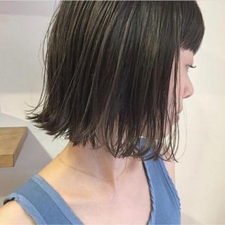 デート 外ハネ ロブ ハイライト ヘアスタイルや髪型の写真・画像