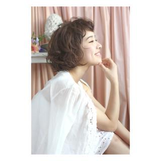 パーマ ゆるふわ ショート ショートボブ ヘアスタイルや髪型の写真・画像