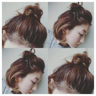 外国人風カラー セルフヘアアレンジ ヘアアレンジ ボブ ヘアスタイルや髪型の写真・画像