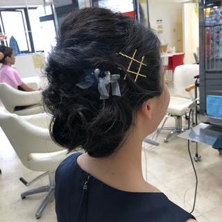 ミディアム ヘアアレンジ 簡単ヘアアレンジ 黒髪 ヘアスタイルや髪型の写真・画像