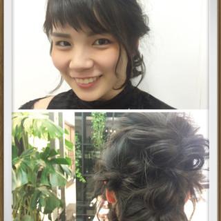 フェミニン ボブ 簡単ヘアアレンジ ヘアアレンジ ヘアスタイルや髪型の写真・画像