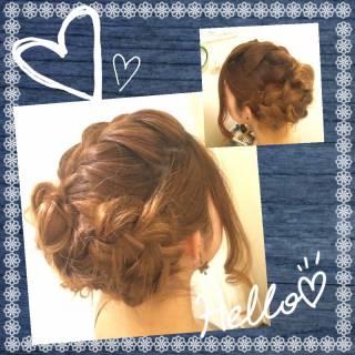 ルーズ 三つ編み コンサバ 結婚式 ヘアスタイルや髪型の写真・画像