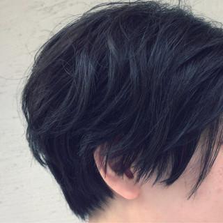 暗髪 ショート 黒髪 アッシュ ヘアスタイルや髪型の写真・画像