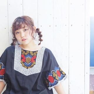 デート 三つ編み ガーリー ミディアム ヘアスタイルや髪型の写真・画像