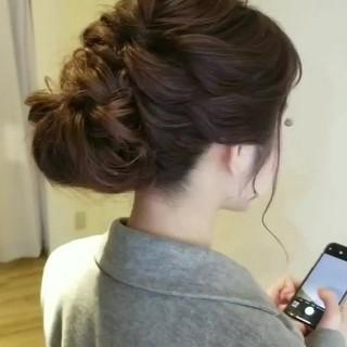 簡単ヘアアレンジ エレガント ロング 結婚式 ヘアスタイルや髪型の写真・画像