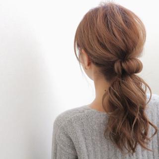 大人女子 ヘアアレンジ ポニーテール ローポニーテール ヘアスタイルや髪型の写真・画像