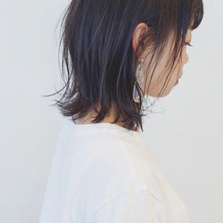 ボブ ストレート ブルーアッシュ ブルージュ ヘアスタイルや髪型の写真・画像