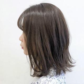 ミディアム ナチュラル ベージュ 韓国 ヘアスタイルや髪型の写真・画像