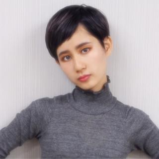 モード ショート アッシュ 黒髪 ヘアスタイルや髪型の写真・画像