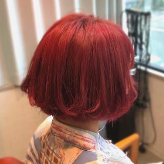 ダブルカラー ツヤ髪 ボブ インナーカラー ヘアスタイルや髪型の写真・画像