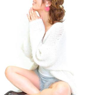 フェミニン 編み込み ロング ガーリー ヘアスタイルや髪型の写真・画像