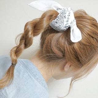 セミロング 簡単ヘアアレンジ ショート ベージュ ヘアスタイルや髪型の写真・画像