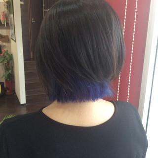ブルー ネイビーブルー ボブ インナーカラー ヘアスタイルや髪型の写真・画像