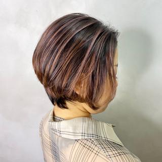 インナーカラー モード ベリーショート ショートボブ ヘアスタイルや髪型の写真・画像