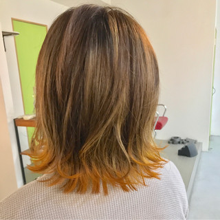 外国人風 オレンジ 大人かわいい ストリート ヘアスタイルや髪型の写真・画像