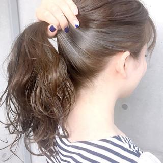 インナーカラー ミディアム インナーカラーグレージュ 透明感カラー ヘアスタイルや髪型の写真・画像