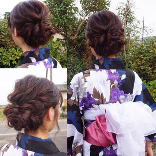 和装 セミロング 花火大会 ヘアアレンジ ヘアスタイルや髪型の写真・画像