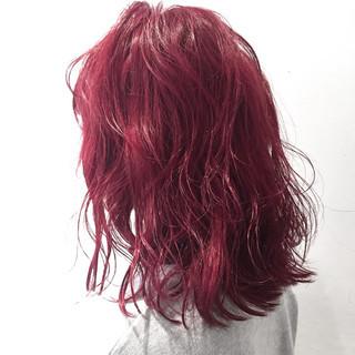 こなれ感 外ハネ ピンク ミディアム ヘアスタイルや髪型の写真・画像