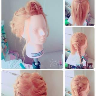 ヘアアレンジ 大人かわいい 編み込み フェミニン ヘアスタイルや髪型の写真・画像