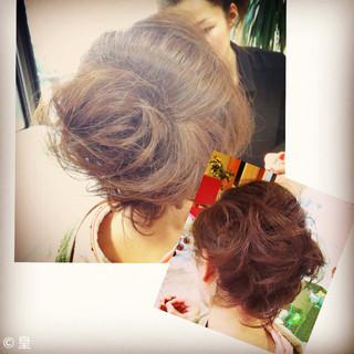 ヘアアレンジ パーティ セミロング 着物 ヘアスタイルや髪型の写真・画像