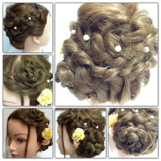 くるりんぱ 三つ編み ヘアアレンジ ブライダル ヘアスタイルや髪型の写真・画像