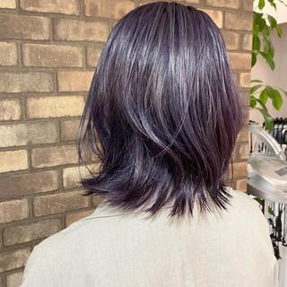 イルミナカラー 透明感 ナチュラル 外ハネボブ ヘアスタイルや髪型の写真・画像