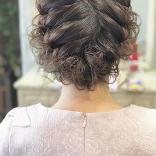 大人かわいい 簡単ヘアアレンジ 結婚式 編み込み ヘアスタイルや髪型の写真・画像