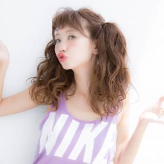 セミロング ヘアアレンジ ガーリー 簡単ヘアアレンジ ヘアスタイルや髪型の写真・画像