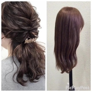 ヘアアレンジ セミロング 結婚式 二次会 ヘアスタイルや髪型の写真・画像