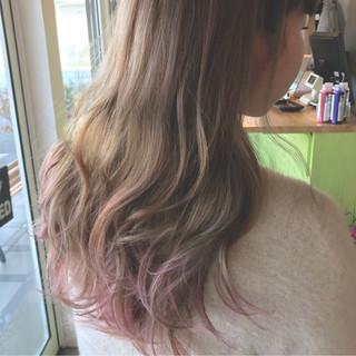 ストリート ミルクティー ピンク 外国人風 ヘアスタイルや髪型の写真・画像