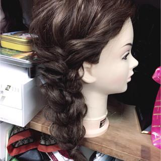 フェミニン 結婚式 編み込み ショート ヘアスタイルや髪型の写真・画像
