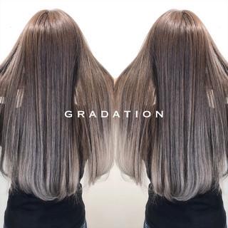 バレイヤージュ グラデーションカラー ロング 外国人風 ヘアスタイルや髪型の写真・画像