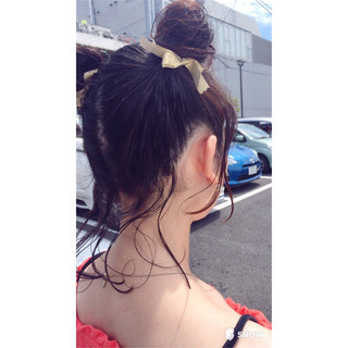 ヘアアレンジ 簡単ヘアアレンジ 黒髪 ハーフアップ ヘアスタイルや髪型の写真・画像
