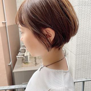 オフィス ナチュラル デート ショートボブ ヘアスタイルや髪型の写真・画像