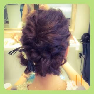 結婚式 コンサバ ブラウンベージュ ヘアアレンジ ヘアスタイルや髪型の写真・画像