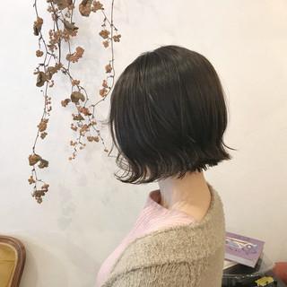 ミニボブ ナチュラル 透明感カラー 外ハネボブ ヘアスタイルや髪型の写真・画像