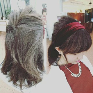ガーリー ショート カチューシャ ヘアアレンジ ヘアスタイルや髪型の写真・画像