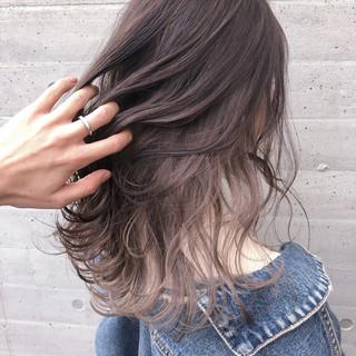 インナーカラー ラベンダーグレージュ ナチュラル ホワイトベージュ ヘアスタイルや髪型の写真・画像