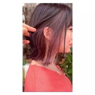 ストリート ラベンダーグレージュ インナーピンク ボブ ヘアスタイルや髪型の写真・画像