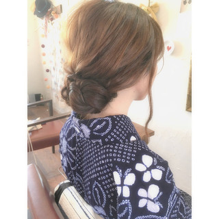 お団子 大人かわいい セミロング 簡単ヘアアレンジ ヘアスタイルや髪型の写真・画像