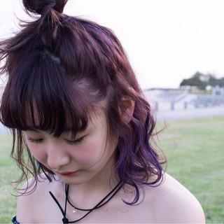 ストリート インナーカラー ハーフアップ ボブ ヘアスタイルや髪型の写真・画像