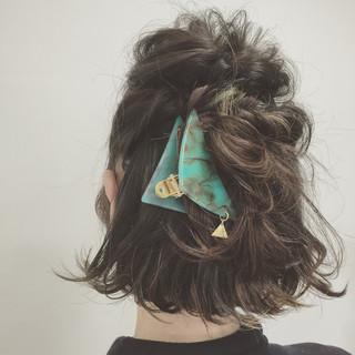 くるりんぱ ヘアアレンジ 簡単ヘアアレンジ 外ハネ ヘアスタイルや髪型の写真・画像