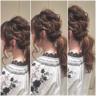 ゆるふわ ヘアアレンジ 波ウェーブ ナチュラル ヘアスタイルや髪型の写真・画像