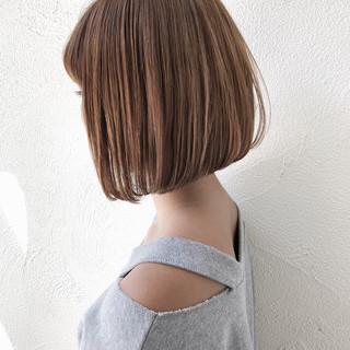切りっぱなし 大人かわいい ボブ ナチュラル ヘアスタイルや髪型の写真・画像
