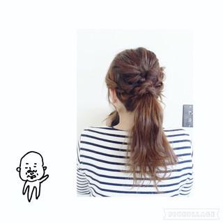 ねじり くるりんぱ ヘアアレンジ ロング ヘアスタイルや髪型の写真・画像