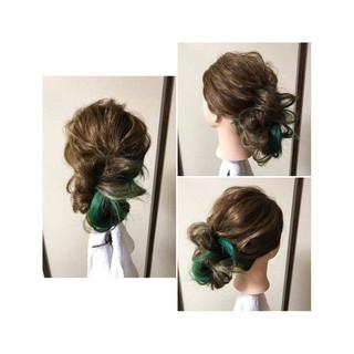 くるりんぱ 編み込み フェミニン 後れ毛 ヘアスタイルや髪型の写真・画像