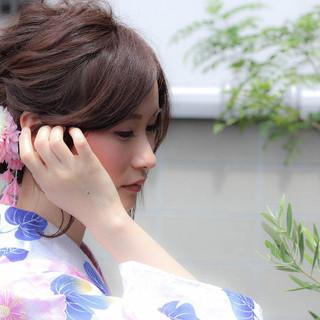 夏 色気 まとめ髪 涼しげ ヘアスタイルや髪型の写真・画像