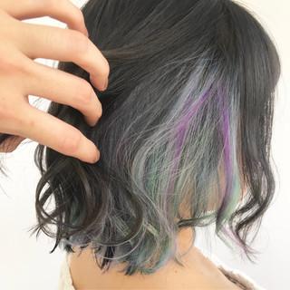 ガーリー ユニコーンカラー デート インナーカラー ヘアスタイルや髪型の写真・画像